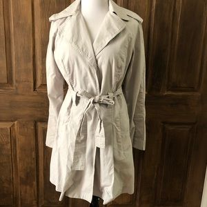 CAbi Trench Jacket Pleated Grey Cloud M Coat Light